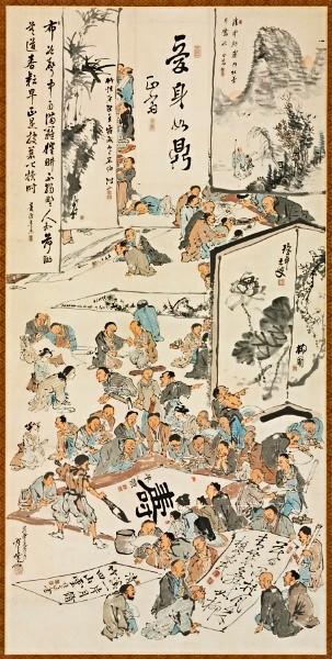 Kawanabe Kyosai (1831-1889) - 1880 Painting Party (Cleveland Museum of Art, USA)
