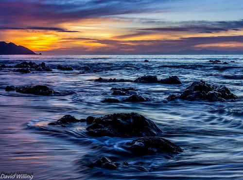 new sunset sea summer seascape beach water beauty sunrise landscape golden coast movement rocks warm zealand wellington coastline tones kapiti paekakariki
