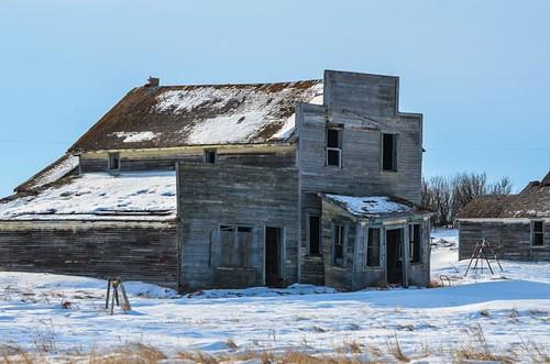 old winter building ghosttown saskatchewan elavator bents