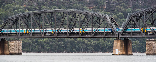 bridge train pier nikon sydney australia wideangle cropped vignetting hawkesbury hawkesburyriver 2016 sydneyau tedmcgrath tedsphotos nikonfx hawkesburyriverrailwaybridge nikond750 brooklynrailbridge spanwaterpierbridge