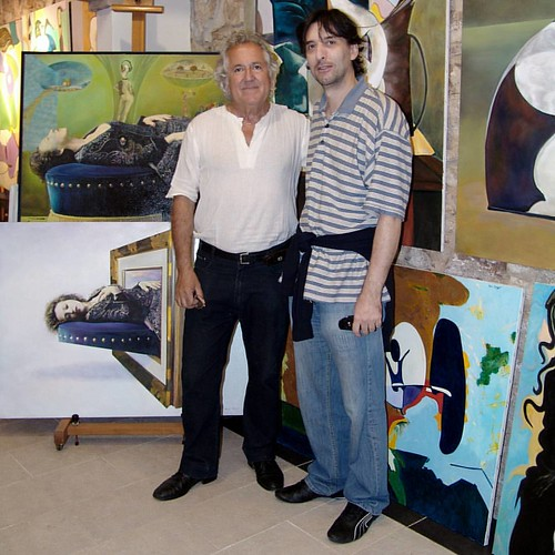 In my workshop, open day, Toni Conejo and a sculptor,  exhibition of my paintings. | by TONI KARTANFLAT