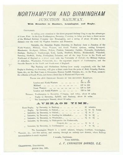 Northampton and Birmingham Junction Railway promotional handbill 1881   by ian.dinmore
