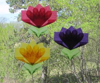 Trio of flower window suncatchers
