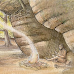 Hunter gatherer sitting under sandrock by Valerie Alford