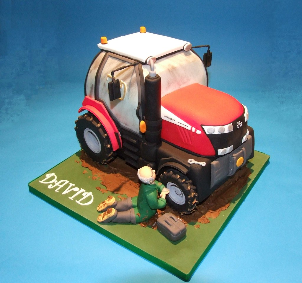Admirable Tractor Cake For A Farmers 70Th Birthday Made From Fonda Flickr Funny Birthday Cards Online Unhofree Goldxyz