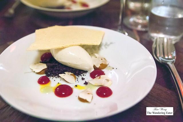 Ninth Course: Green juniper ice, chocolate crumble, butternut squash Italian meringue, cranberry and butternut squash purée, chestnut crumble