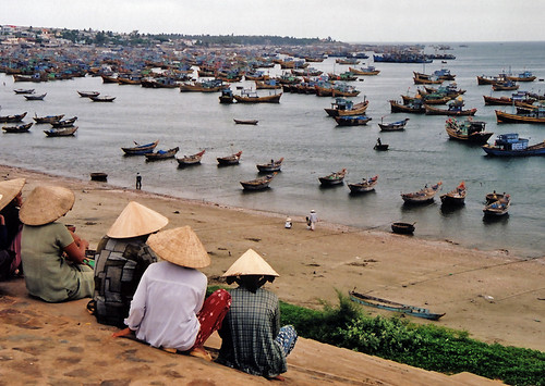 Boats as far as the eye can see in a Mui Ne fishing village. (Vietnam)