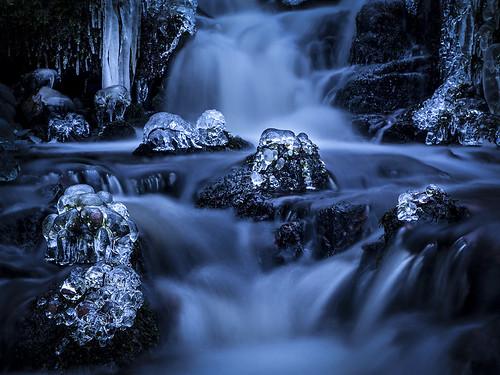 winter ice nature water creek flow stream sweden halland