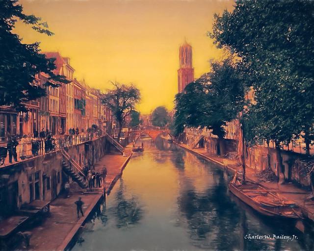 Digital Pastel Drawing of the Hamburgerbrug in Utrecht by Charles W. Bailey, Jr.