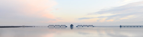 california bridge winter sunset panorama color water silhouette reflections bay nikon track view over january large rail panoramic southbay eastpaloalto stitched d800 dumbartonbridge 2015 boury pbo31 patrickboury