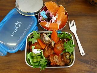 Skewers of Sausage, Mushroom and Peppers Bento | by sherimiya ♥