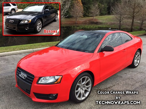 Custom red color change car wrap by TechnoSigns in Orlando