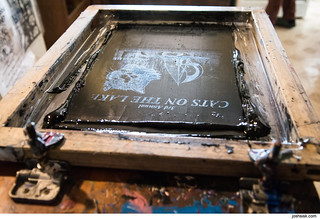 Ed Schrader & Kevin Sherry making Cats On The Lake shirts | by joshsisk