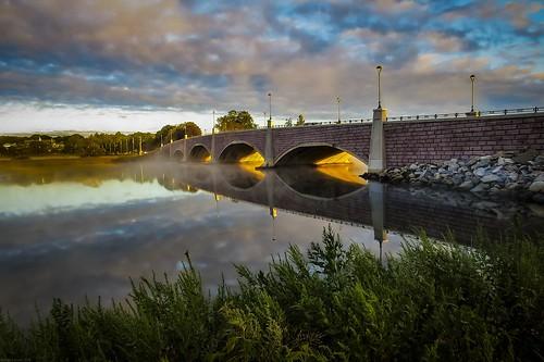 bridge berkley sunrise morning sky clouds river dighton massachusetts andrewlincolnphotographer