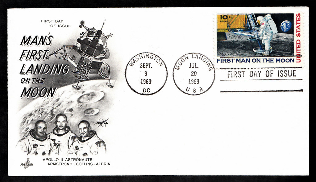 First Day Cover of the 1969 Moon Landing stamp - single st