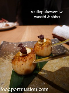 scallop skewers w wasabi & shiso   by Priscilla @ Food Porn Nation