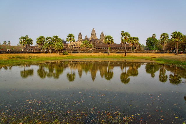 Angkor Wat with reflections in the pond in the late afternoon near Siem Reap, Cambodia