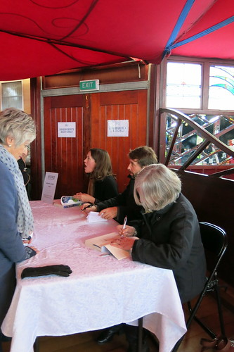 Fiona Farrell, Anna Smaill, and Hamish Clayton  signing