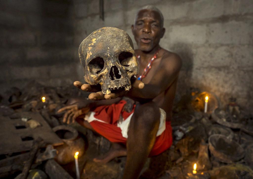 Benin, West Africa, Bopa, dah tofa voodoo master showing t