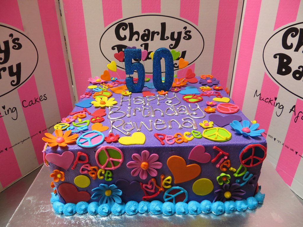 Terrific Hippie Themed 50Th Birthday Cake Iced In Purple Butter Ici Flickr Funny Birthday Cards Online Unhofree Goldxyz