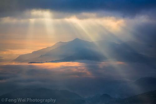 travel nepal cloud sunlight mountain color tourism beautiful beauty horizontal sunrise landscape dawn twilight scenery colorful asia tour view outdoor scenic vista hazy scenics nagarkot bagmati