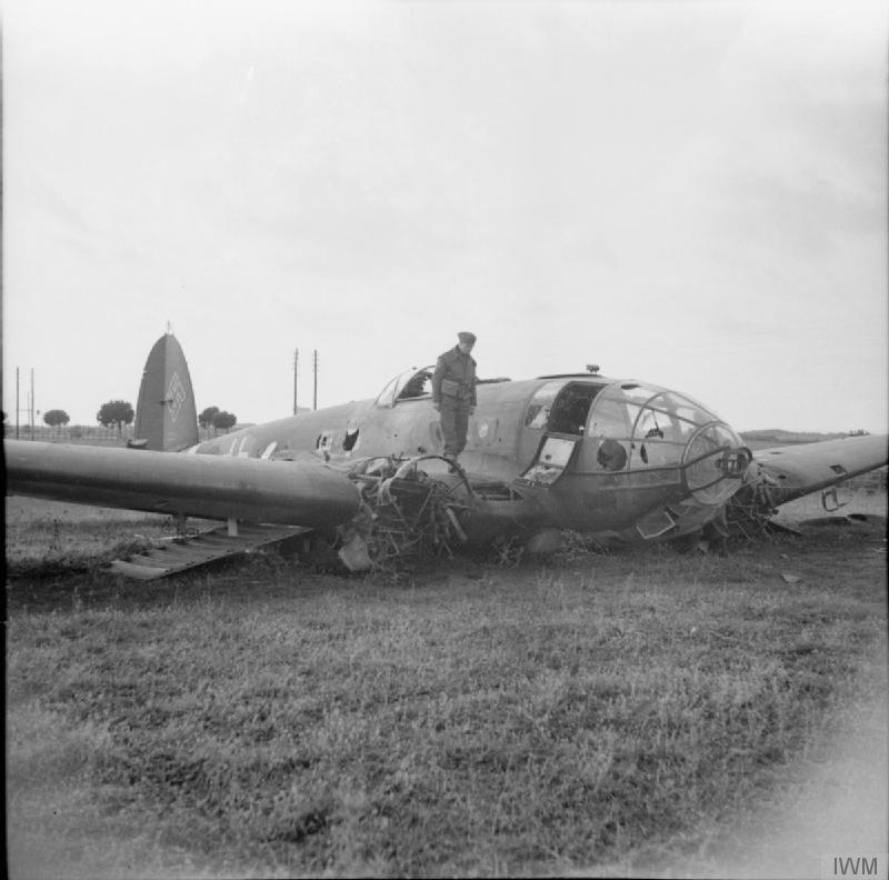 Heinkel He 111 bomber shot down