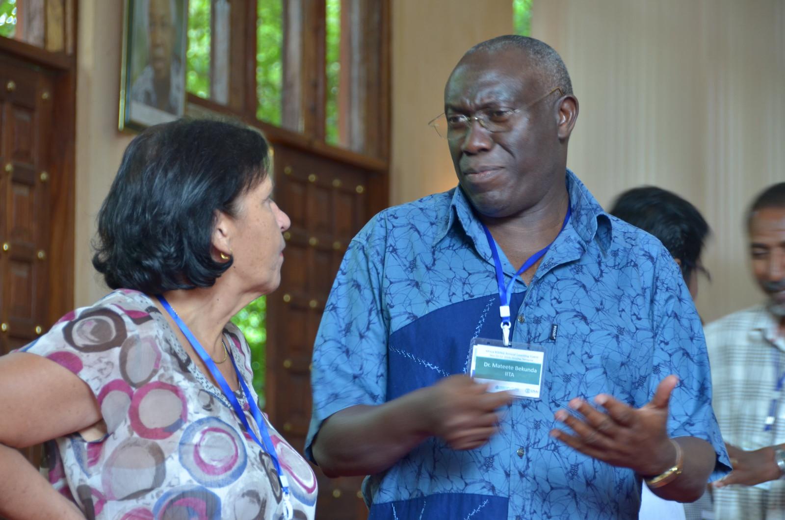 Irmgard Hoeschle-Zeledon and Mateete Bekunda (Photo credit: IITA/Jeffrey Oliver)