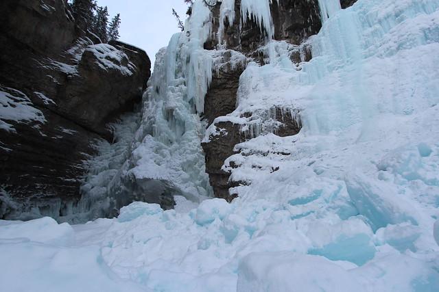 Ice climbing Johnstons Canyon Upper falls Alberta Canada December 2014