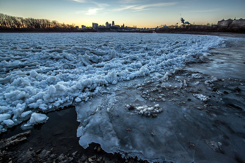 city winter ice skyline sunrise river point dawn ks steam mo kansascity missouri kansas pancake fairfax vapor confluence kaw missouririver floe kansasriver kawpoint kawriver