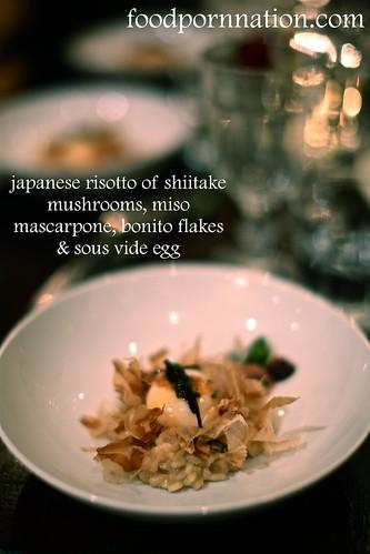 Shiitake Zosui - Japanese Risotto of Shiitake Mushrooms, Miso-Mascarpone, Dashi, Bonito Fish Flakes, Sous-Vide Egg, Shichimi Butter, Kombu no Tsukudani | by Priscilla @ Food Porn Nation