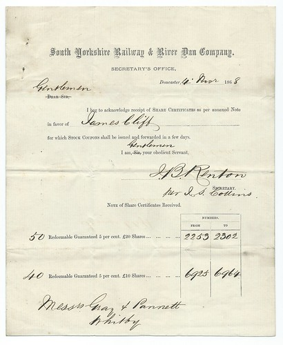 South Yorkshire Railway and River Dun Receipt of share certificate 1868 | by ian.dinmore