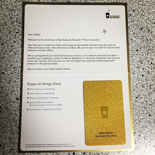 My Starbuck's Rewards Gold Card came In the mail today