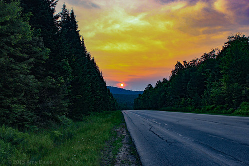 sunset adirondacks fireinthesky roadway lookingback travel