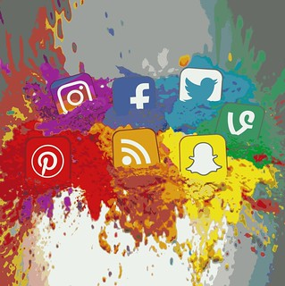 Social Media Icons Color Splash Montage - Square | by Visual Content