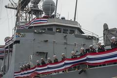 USS Rodney M. Davis (FFG 60) crew members man the rails during the ship's decommissioning ceremony. (U.S. Navy/MC3 Caleb Cooper)