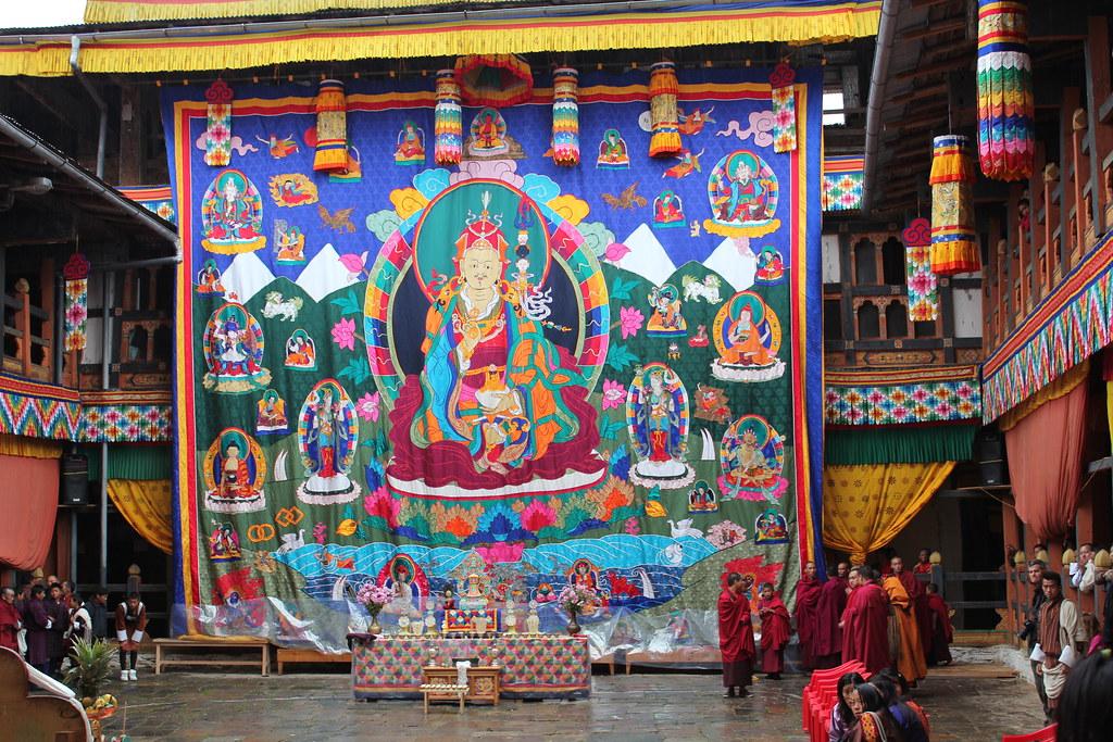 Jakar tshechu, Guru Rinpoche thongdrel with the Guru, his … | Flickr