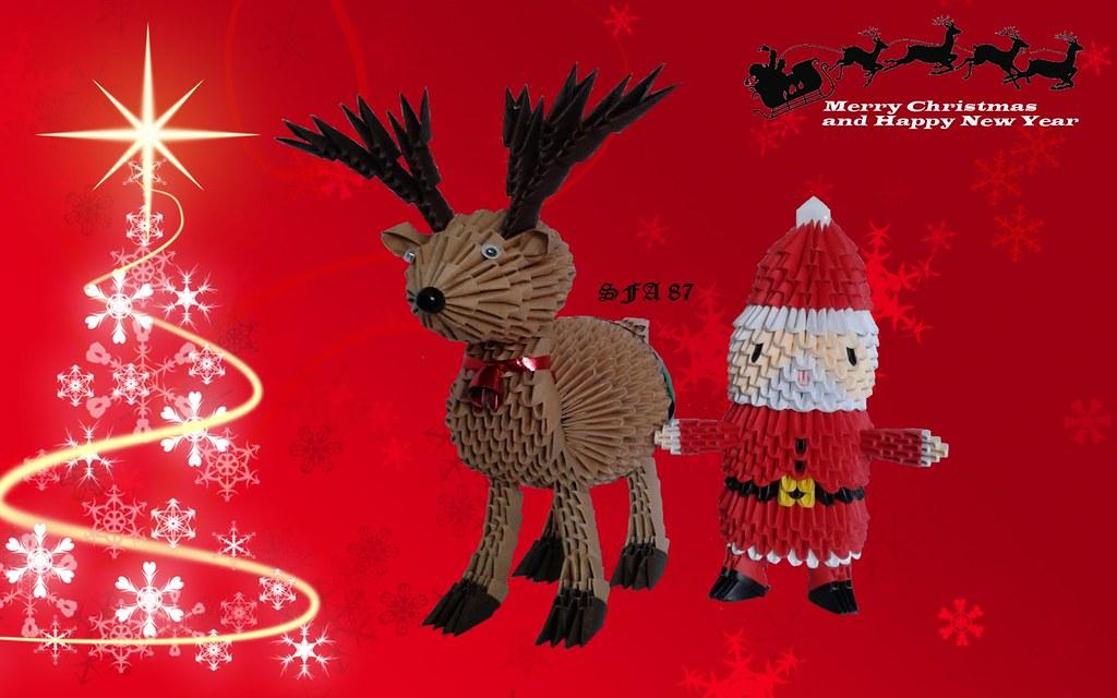 3D Origami Santa Claus. 3d Origami Reindeer. 3d Origami Christmas ... | 640x1024