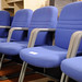 Blue fabric office waiting chairs
