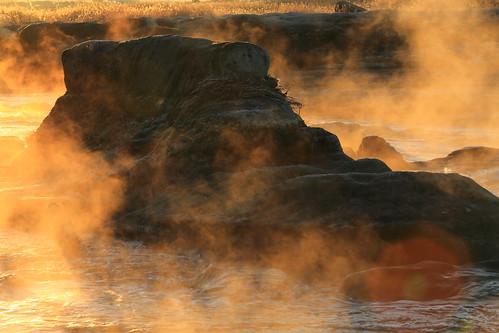 light mist fog sunrise river earlymorning 岩 多摩川 朝日 朝霧
