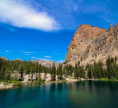 #9: After a very steep hike, the view of Elephant's Perch above Saddleback Lake. This massive rock mountain is very well known among rock climbers. #Idaho #pnw #Northwest #wilderness #nature #scenery #mountains #outdoors #getoutside #goexplore #GodsCountr | by bswansonpictures
