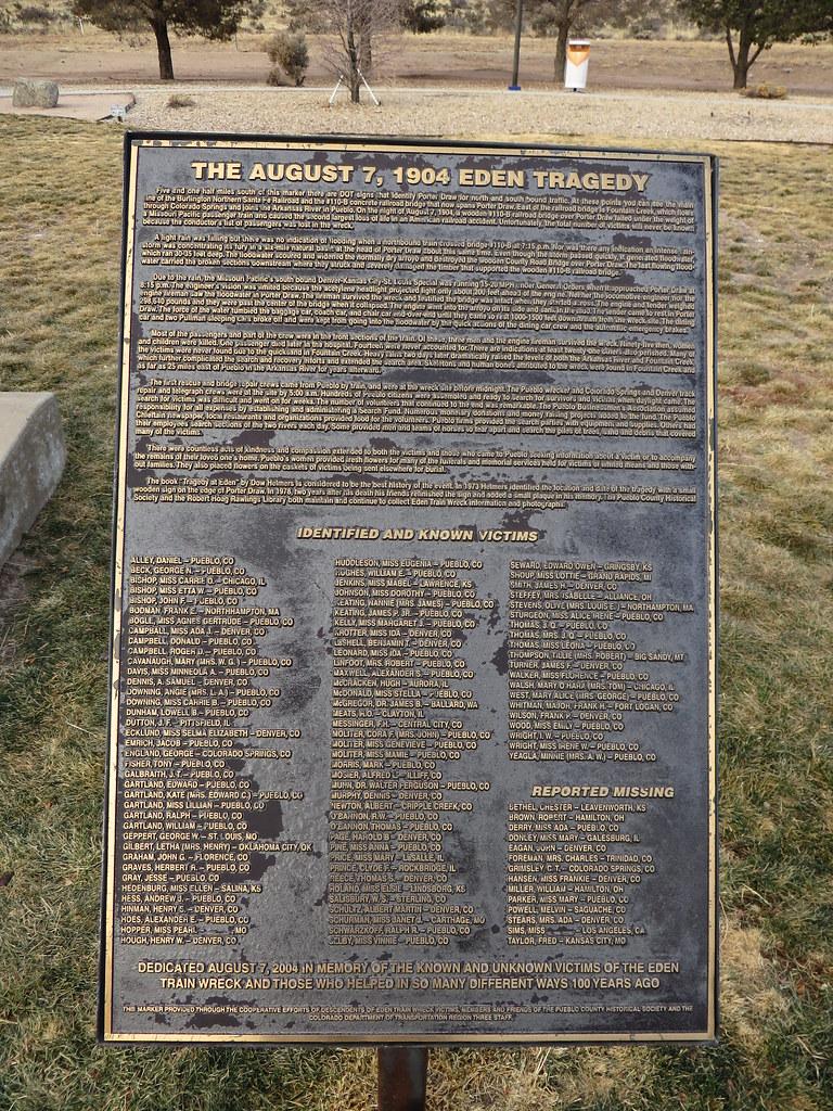 Monument to 1904 Eden Train Wreck, Near Pueblo, Colorado