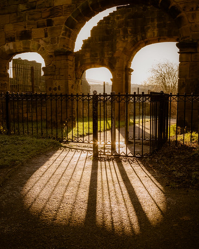 sunlight architecture sunrise gate arch shadows yorkshire arches railing railings barnsley southyorkshire englishheritage canon24105mmf4l monkbrettonpriory canon6d lundwood lightroom5