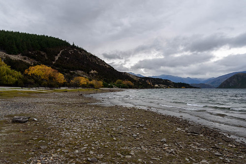 autumn trees newzealand sky mountains beach clouds autumncolours southisland centralotago wanaka lakewanaka tripdownsouth wanakaoutlet startofthecluthariver