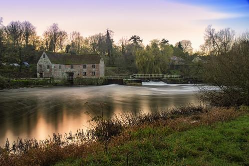 sunset mill river long exposure dorset sturminster