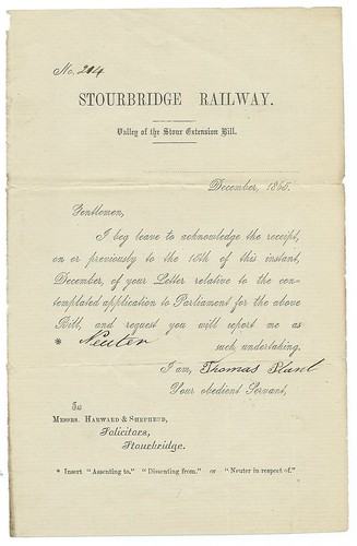 Stourbridge Railway support letter 1865   by ian.dinmore