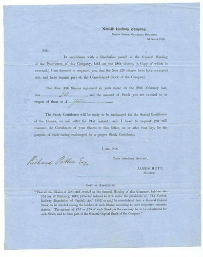 Norfolk Railway share creation notice 1853   by ian.dinmore