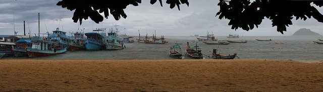 Fishermen shelter from the storm on Koh Tao