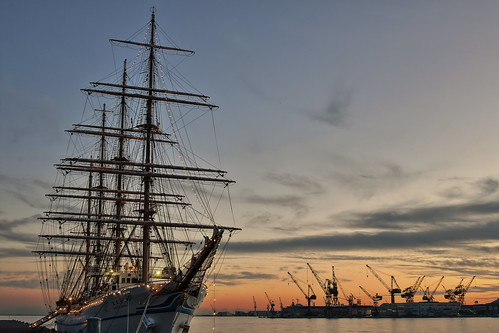 sunset sky landscape atardecer barco cielo nippon hdr maru 日本丸