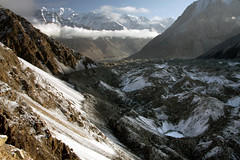 Glacier with small pools near to the Chapursan valley. Pakistan