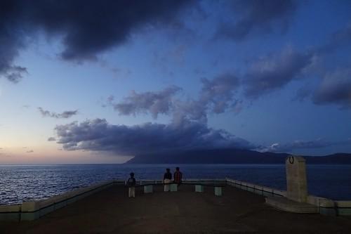 sea summer people seascape water weather clouds evening pier view harbour kreta crete kriti kissamos